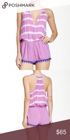 """NWT Gypsy 05 Tie Dye Romper NWT Tie-dye stripes make up the gathered tank top of a pompom trimmed short romper. - Surplice neck - Sleeveless - 2 side slit pockets - Banded waist - Pompom trim - Printed upper - Approx. 32"""" length, 2"""" inseam Gypsy 05 Pants Jumpsuits & Rompers"""