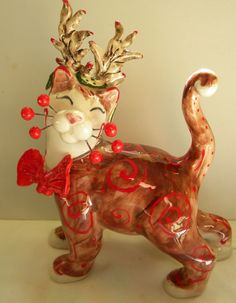 """Rudy"" WhimsiClay Ceramic figurine Cat U.S.A. made sale benefits animals"