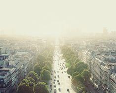 Paris Art, Travel Photography, City View, Fine Art Print, Warm Yellow, Wall Art, Urban, Street - Staring into the Sun