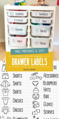 Organize kids clothing with these cute dresser drawer labels; the images make it so even young kids can help put away their clothes in the right drawer! Grab the free printable or free SVG file here! Kids Clothes Storage, Clothes Drawer, Kids Clothes Organization, Organize Kids Clothes, Organization Hacks, Toy Labels, Drawer Labels, Kids Labels, Labels Free
