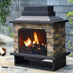 Sunjoy, Huntsville 42 in. x 24 in. Steel Faux Stone Outdoor Fireplace, at The Home Depot - Mobile Outdoor Wood Burning Fireplace, Backyard Fireplace, Backyard Patio, Outdoor Fireplaces, Backyard Ideas, Patio Ideas, Backyard Projects, Garden Ideas, Outdoor Projects