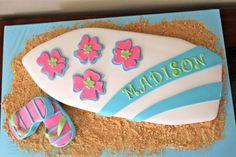 8th Birthday Cake, Hawaiian Birthday, Luau Birthday, Ocean Party, Luau Party, Surfboard Cake, Beach Kids, Ocean Beach, Surfer Party