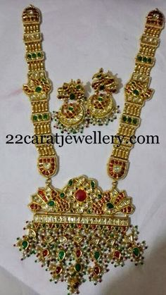 Jewellery Designs: Pearls Edged Kundan Huge Chain