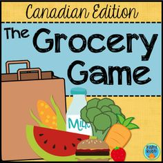 The Grocery Game is a highly engaging math activity that provides students with a hands-on way to practice counting money! To play, players take turns picking food cards to fill up their grocery bags. Every card has a price, so students must pay for Counting Money Games, Money Math Games, Money Activities, Counting Coins, Math Resources, Autism Activities, Spring Activities, Teaching Activities, School Resources