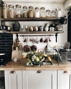 This homy style brings a friendly and inviting atmosphere to any home. Doesn't matter you live in the town or countryside, you owe big or small kitchen, you can create really unique and welcoming rustic kitchen design. Rustic Kitchen Decor, Home Decor Kitchen, Diy Kitchen, Kitchen Interior, Home Kitchens, Kitchen Dining, Kitchen Ideas, Earthy Kitchen, Rustic Farmhouse