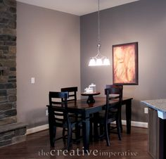 Gray/Purple kitchen eating nook.  Benjamin Moore Elephant Gray, Smoked Oyster