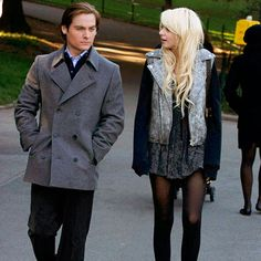 "Gossip Girl Season Three: Get the Look  Episode 10: Jenny's ""Babysitting"" Job  Chuck enlists Jenny to entertain Damien (played by Kevin Zegers), an important hotel guest who also happens to be the son of a high-powered ambassador. Could little J's favor to Chuck lead her to a new love interest? For a walk in the park with the new man, Jenny wears an Alexander Wang jacket over a Topshop dress and Hue tights."