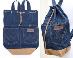 denim backpack upcycled jeans big drawstring by UpcycledDenimShop