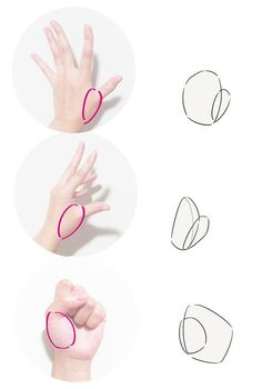 How to draw hands Tutorial The base of the thumb Hand Manga, Anime Hand, Drawing Base, Manga Drawing, Drawing Sketches, Drawings, Drawing Techniques, Drawing Lessons, Drawing Tips