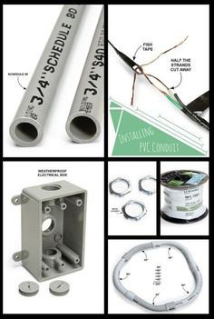 Installing PVC Conduit: It's cheap, easy and lightweight. http://www.familyhandyman.com/electrical/wiring/installing-pvc-conduit