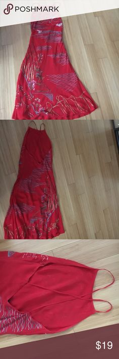 Gorgeous beaded red dress Sequined and irritated decorated; spaghetti straps and open back Sue Wong Dresses Midi