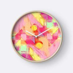 Worn out by Silvia Ganora New! #homedecor #interiordesign #clocks #wallclocks #redbubble #geometric #modern #summerdesign #contemporary #pinkdesign #washeddesign