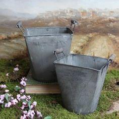Antique Style Tin Bucket Caddy