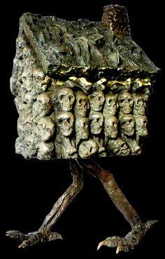 """ kaput–korvii: ""Ailene Fields Baba Yaga "" I love Baba Yaga's house "" Baba Yaga House, Bokashi, Russian Folk Art, Legendary Creature, Mythical Creatures, Folklore, Mythology, Fairy Tales, Sculptures"