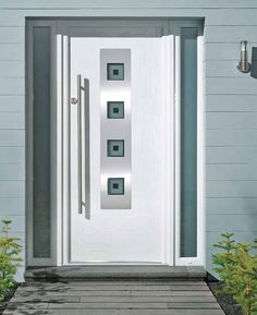 white front doors4 Square Glazed Composite Front Door in Chartwell Green http