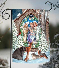 NEW Toland - Winter Nativity - Christmas Church Snow Wildlife Bear Garden Flag #TolandHomeGarden