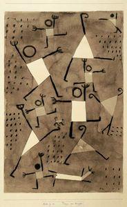 à la manière de Paul Klee- Bonhommes- peinture à l'encre dilué, collage de formes géométriques puis traits au crayon noir.