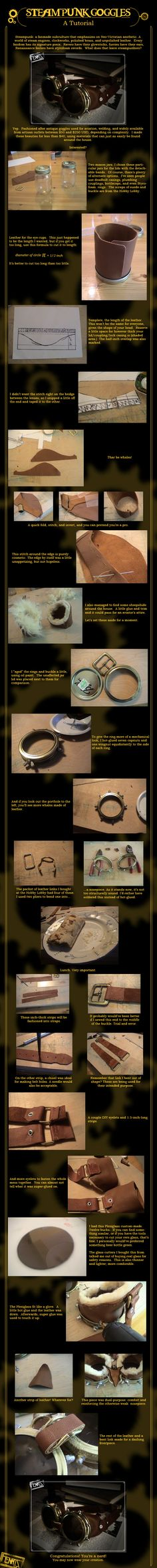 Steampunk Goggles: A Tutorial by *FenrisDesigns on deviantART - a better tutorial for goggles. Saved for David