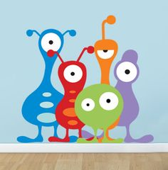 5 Wall Decal ALIENS Monsters Size SMALL for Children Bedrrom Playroom REUSABLE Peel n Stick Fabric Decal for Kids Work with Textured Walls