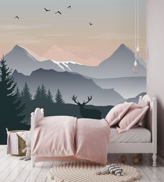 Removable Wallpaper Self Adhesive Wallpaper Ombre Mountains with Deer Peel & Stick Wallpaper Nursery Wallpaper Wallpaper Mural Abnehmbare Tapete Selbstklebende Tapete Ombre Mountains Bedroom Murals, Bedroom Wall, Nursery Murals, Mountain Mural, Nursery Wallpaper, Wallpaper Murals, Self Adhesive Wallpaper, Baby Boy Rooms, Textured Walls