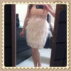 Sue Wong light pink ostrich feather strapless Sue Wong ostrich feather dress size 4, light pink, blush color.  Feathers all in tack, worn for 30 minutes to walk down the aisle in the ceremony. HOST PICK 2/11/15 Girly Girl. Sue Wong Dresses