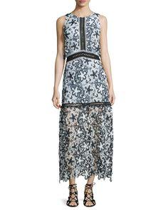 Sleeveless Floral Lace Popover Maxi Dress, Black/White/Light Blue - Self Portrait