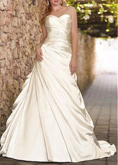 ROMANTIC SATIN A-LINE STRAPLESS SWEETHEART BEADED APPLIQUES DRAPING DESTINATION WEDDING DRESSES LACE GOWN