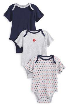 Little Me 'Sailboat' Cotton Bodysuits (Set of 3) (Baby Boys) | Nordstrom
