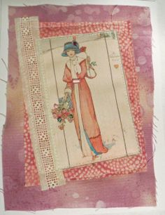 Valentines' note card...Victorian lady. On etsy