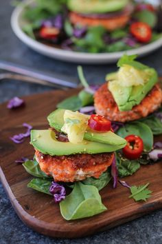 Asian Salmon Burgers with Avocado and Pickled Ginger | TheRoastedRoot.net…