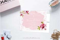 Roses and Lace Baptism/Christening Invitation