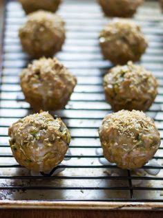 Coconut Zucchini Muffins. Moist, healthy muffins made with coconut oil, toasted coconut, and whole wheat flour.