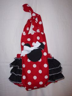 Minnie Mouse Boutique Bubble Romper  Baby Girl Jumper Ruffled Jumper outfit   Birthday dress Outfit