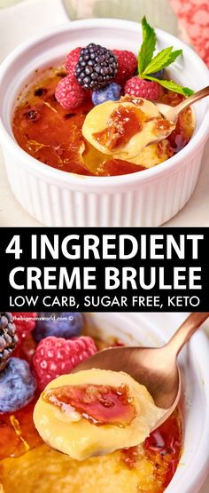 Keto Creme Brulee made with just 4 ingredients! Silky, smooth and creamy, this sugar free creme brulee recipe has no grains, and takes minutes to make- Low carb, gluten free and easily made vegan! Sugar Free Desserts, Gluten Free Desserts, Healthy Desserts, Healthy Cooking, Sugar Free Creme Brulee Recipe, Baking Recipes, Keto Recipes, 4 Ingredients, Low Carb Keto