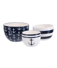Navy & White Three-Piece Anchor Nested Bowl Set coastal kitchen beach house decor