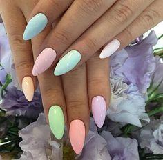 Pastel Stiletto Nails.