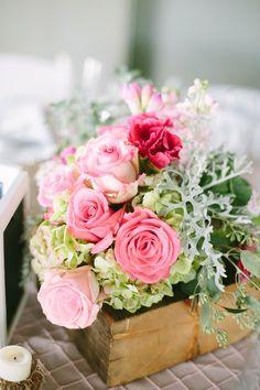 pink rose and hydrangea centerpieces #wedding #decor #flowers