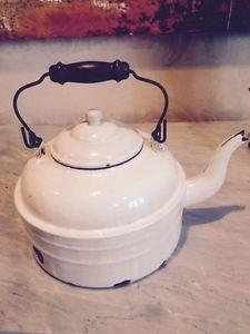 Antique-Vintage-French-or-German-enamelware-tea-pot