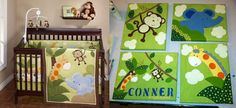 Custom nursery! jungle baby boy paintings decor monkey Custom Creations by ThirtySevenHundred on Etsy order now!
