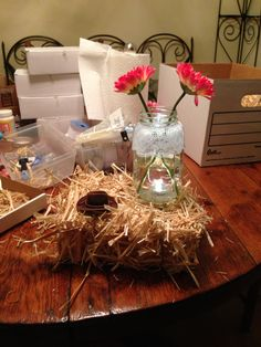 Hay bail centerpiece with mason jar and flowers!!
