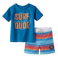 "Baby Boy OshKosh B'gosh® ""Surf Dude"" Rashguard & Striped Swim Shorts Set, Size: 12 Months, Blue"
