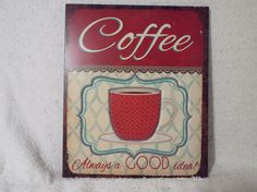 Decorative Vintage Coffee SignFiberboard by Gem2thei on Etsy