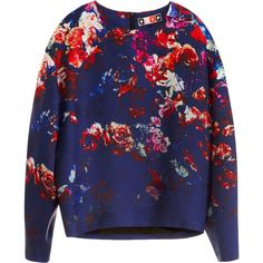 MSGM Floral Printed Gazar Top found on Polyvore