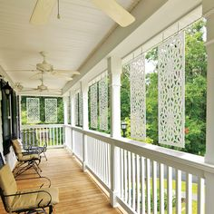 Decorative screen panels are a perfect interior or exterior home accent that can enhance a room, deck, patio or garden area. decorative screen panels are Front Porch Seating, Small Front Porches, Farmhouse Front Porches, Screened In Porch, Small Patio, Front Porch Railings, Country Porches, Southern Porches, Back Porch Designs