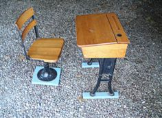Vintage 1930's School Desk and Chair - Wood and Cast Iron School Desk