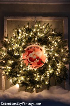 Christmas Wreath Decorating Ideas - love this vintage platter in the center of the wreath! eclecticallyvintage.com