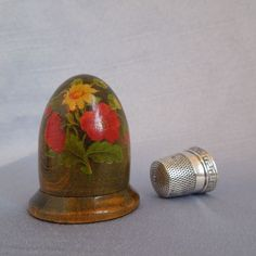 Victorian~ Sewing Tumble Case~ Hand Painted Acorn Shape ~ With from merrimanantiquegallery on Ruby Lane