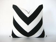 Pillow Cover Mitered Chevron Black White Stripes Indoor