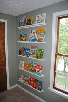 DIY book shelves...Must make these for the kids rooms, much better than chunky shelfs where you cannot see the front of the books