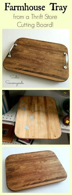 Just in time for entertaining guests this holiday season...a DIY tray upcycled from a thrift store cutting board! A little TLC goes a long way with an old wood cutting board...and it's super easy (and cheap!) to repurpose it into a rustic, farmhouse-style tray that looks like salvaged barn wood! Perfect for setting out coasters, napkins, and bowls of snacks- AND it'll protect your furniture from water rings! #SadieSeasongoods #CoasterFurniture